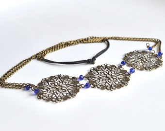 Head band bronze beads blue print