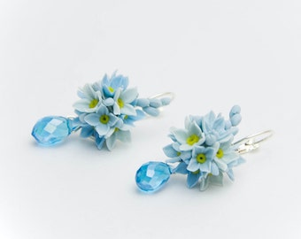 Earrings with blue flowers  of polymer clay, blue flowers,  jewelry, shades of blue, Forget-me-nots flowers  wedding earrings