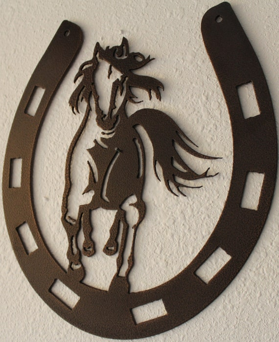 Horseshoe With A Horse Scene Metal Wall Art Home Decor