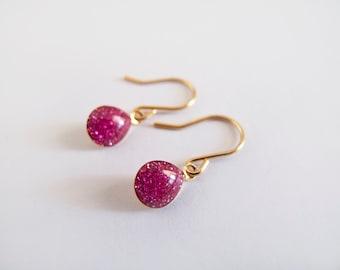 Carmine Red Glitter Drop Dangle Earrings  - Gift for Her