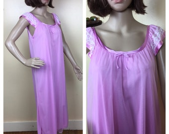 Sale Hot Pink 60s Nightgown,  bubblegum pink full length double    Nightgown Bridal  , nightie lingerie ,nightgown