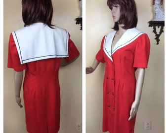 Vintage Sailor Dress, 80S Nautical Dress, Patriotic , Preppy 80s  Red WHITE AND blue  M MEDIUM