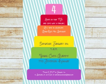 Rainbow Cake Birthday Invitation