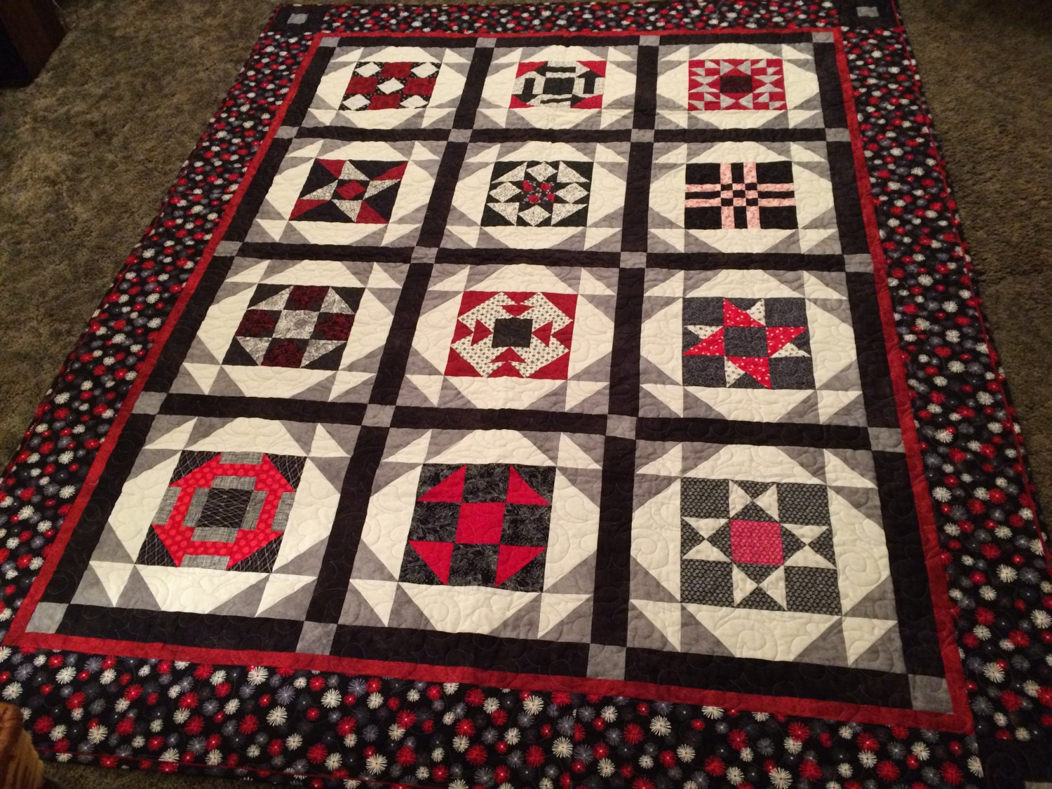 Black red white and gray sampler quilt by homemadequiltshop for Black white and gray quilt patterns