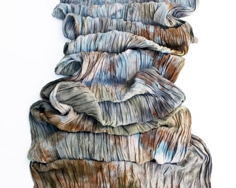"""Blue crinkle scarf - crinkle scarf - rayon scarf - fringe - blue grey, chocolate brown, sage green, salmon - hand dyed - 20"""" x 70"""""""