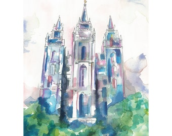 Salt Lake LDS temple watercolor