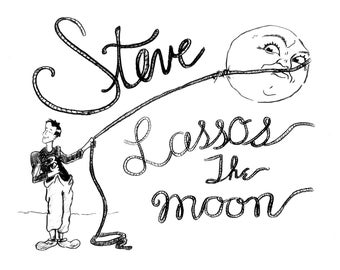 """It's a Wonderful Life Print, """"George Lassos the Moon"""" Personalized Name (add whatever name you choose)"""