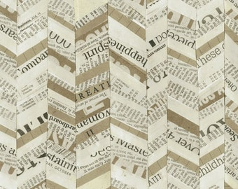 STORY Paint Broken Chevron Newsprint Carrie Bloomston Tan and Cream Word Windham Fabric BTY