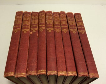 """Set of 9 Red """"Little Masterpieces"""" Books, published 1901"""