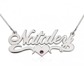 Summer Sale - 10% OFF Sterling Silver Swarovski with Middle Heart Name Necklace