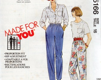 Vintage 1991 PULL-ON PANTS McCall's Made For You Pattern 5166 Misses Size 16