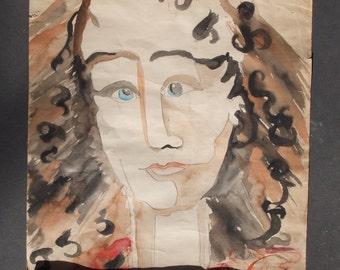 Watercolor Painting on Paper/ Primitive/ Naive/ Portrait