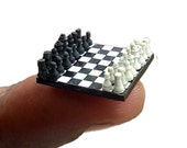 Miniature Chess Set, handcraft chess board, only 17 x 17  millimeter, chess lovers