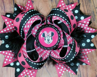 Miss Mouse Inspired Hair Bow, - Boutique Stacked Bow with Bottle Cap - 5 inch