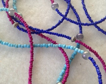 Color Block Long Necklace in Fuchsia, Cobalt, & Turquoise