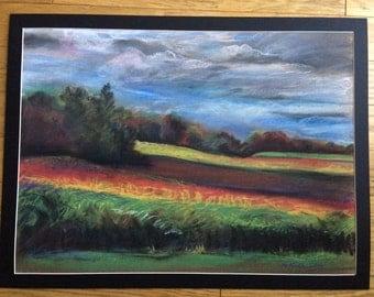 Original Pastel Drawing, Pastorale, Landscape, Colorful Landscape, Original Art, Pastel On Paper