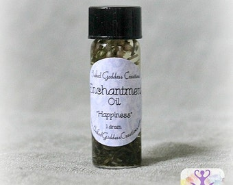 Enchantment Oil, Glass Vial with Herbs, Become Calmer and Happier, 2 Sizes