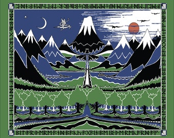 Large The Hobbit Cover cotton fabric: Lord of The Rings, The Hobbit