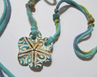 Necklace Starfish Ceramic T-Shirt Cord Blue & Green Beach Jewelry