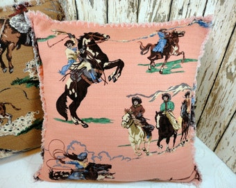 Shabby Pink Cowgirl Barkcloth Mid-Century Retro Pillow Slipcover