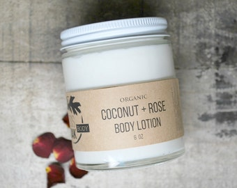 Coconut + Rose Organic Body Lotion  7 oz    BEST SELLER
