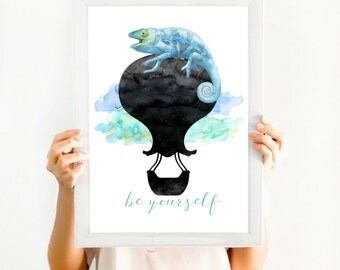 Inspirational Office Decor, Inspirational Quote, Motivational Art, Instant Download, Printable 'Be Yourself' Watercolor 8x10 Digital Print
