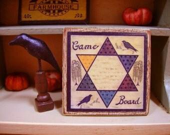 Primitive Game Board Miniature Wooden Plaque 1:12 scale