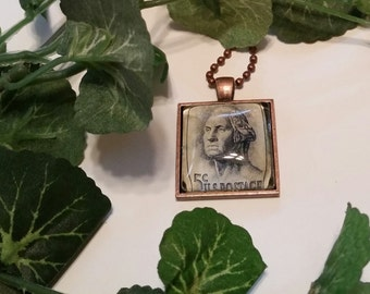 Vintage  5 cent stamp cabochon necklace