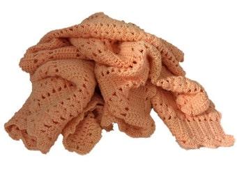 """Vintage Afghan, Lap Blanket, Light Orange, 50"""" x 46"""", Hand Made Vintage"""