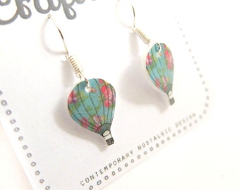 Hot air Balloon floral earrings in 4 different styles studs and dangle
