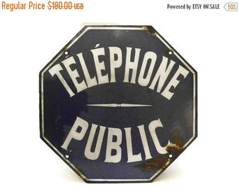 10% OFF Sale French Telephone Sign. French Blue and White Street Sign. Public Telephone French Enamel Sign. Industrial Octagon Sign.