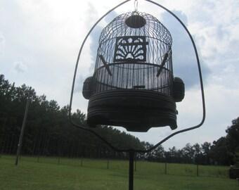Vintage birdcage,Hendryx metal birdcage,bird cage,antique bird cage,cottage decor, wire birdcage, shabby chic birdcage  and stand,