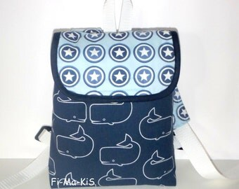 Kids backpack whale with name chain cotton blue white 22 cm x 18 cm x 7 cm