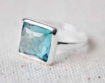 NEW!!! Teal Quartz Ring - Square Ring - Faceted Gemstone Ring - Stackable Ring