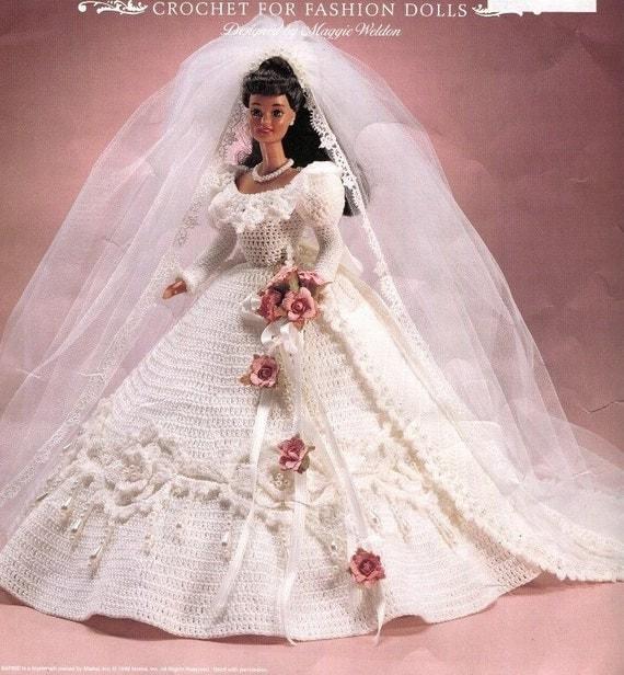 Crochet Fashion DOLL WEDDING GOWN Pattern Fits 11.5