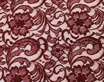 Burgandy Carly Pattern Lace Fabric by the yard - Carly Pattern  - 1 Yard style 319