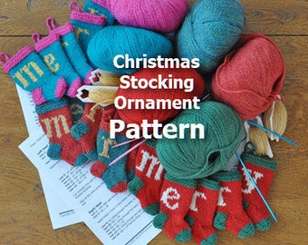 Sleigh & Reindeer Christmas Stocking Ornament Knitting Pattern