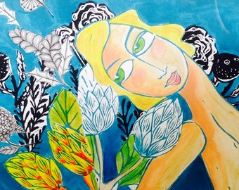 SALE - My ocean garden- lino print/mixed media original by Samantha Thompson
