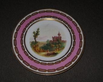 Antique 1860's Copeland 9 1/4 inch Dessert Plate , Hand painted Landscape , Gilt ,