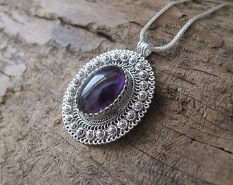 Amethyst silver necklace, Silver necklace, Israel jewelry, Amethyst necklace, Filigree necklace, Yemenite jewelry