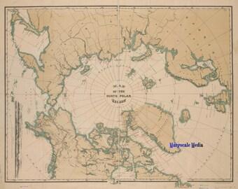 Map of the North Polar Region Digital Download JPG Image