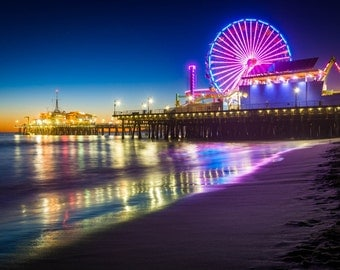 The Santa Monica Pier at night, in Santa Monica, California. | Photo Print, Stretched Canvas, or Metal Print.