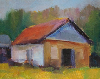 Horse House - ACEO - Oil - 21/2 x 31/2