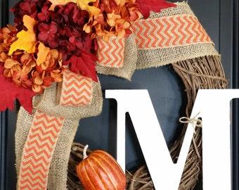 fall wreath ~ Hydrangea wreath - harvest wreath - monogram wreath - autumn wreath