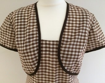 1950s/1960s Brown Gingham Shift Dress and Bolero - Medium Size 10