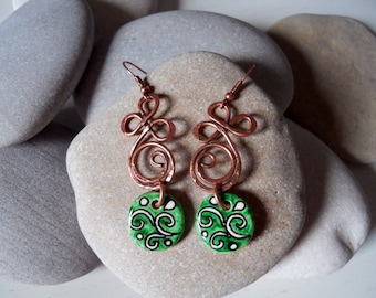 Ceramic Earrings, Ceramic Jewelry/Handcrafted ceramic and copper/Orecchini Treaty