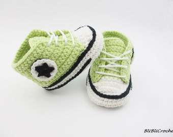 Light green baby sneakers, green baby shoes, Crochet baby shoes, crochet green shoes, crochet shoes, baby shoes, green shoes for baby