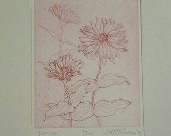 Vintage floral artwork Zinnia art