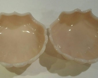 Shell pink milk glass dishes