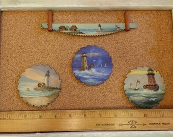 Vintage lighthouse, beach scene painting on saw blades decorative magnets
